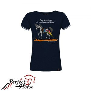 "T-shirt koszulka Cartoon ""Streczing"" granat- Perfect Horse"