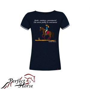 "T-shirt koszulka Cartoon ""PIAFF"" granat- Perfect Horse"