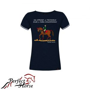 "T-shirt koszulka Cartoon ""Technika"" granat- Perfect Horse"