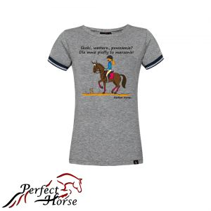 "T-shirt koszulka Cartoon ""PIAFF"" szara- Perfect Horse"